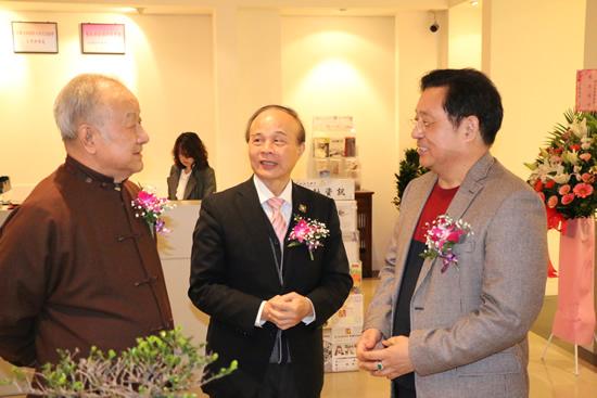 朱法鹏与当代水墨大师刘国松先生及长流美术馆馆长黄承志先生
