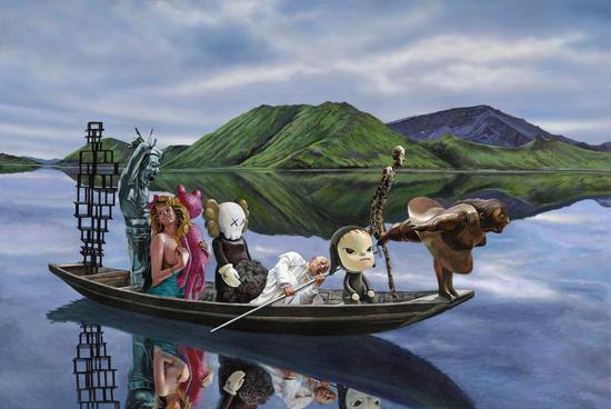八仙过海 Eight Immortals Crossing the Sea布面丙烯Acrylic on Canvas 80x120cm 2018