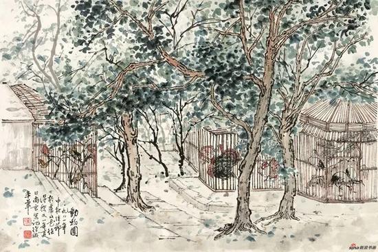 徐孅,动物园,1981,47×70cm,纸本水墨设色,中国画