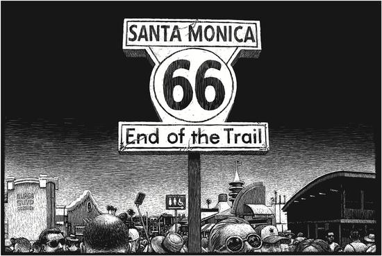 托马斯?奥特 Thomas Ott -《道路结束标志,圣莫妮卡码头,圣莫妮卡,加利福尼亚州》