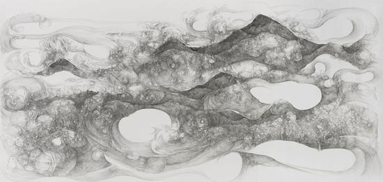 云山Cloud and moutain110x220cm 2016 纸上墨水 Ink on paper