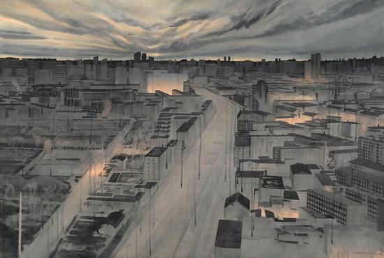 《子夜》,赵龙,150x100cm,纸上水彩2018
