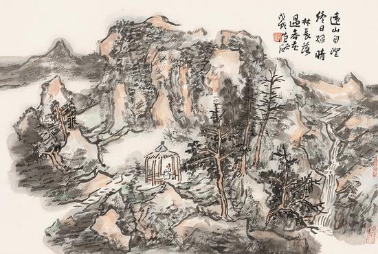 范硕 远山自澄终日绿 46cm×67cm 纸本设色 2018年