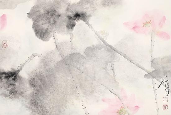 王居明《梦荷系列之一》45cm×68cm  纸本设色  2013年