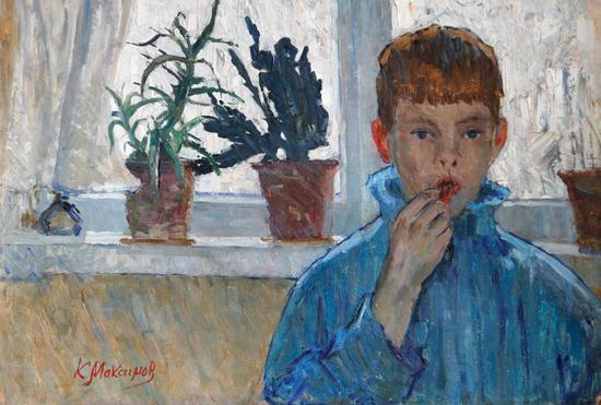 俄罗斯人民艺术家马克西莫夫经典作品《窗前的阿廖沙》