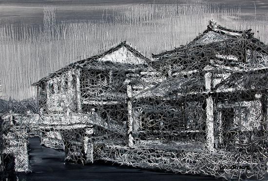 江南-切片系列-157 53x77cm 纸本油画 2017