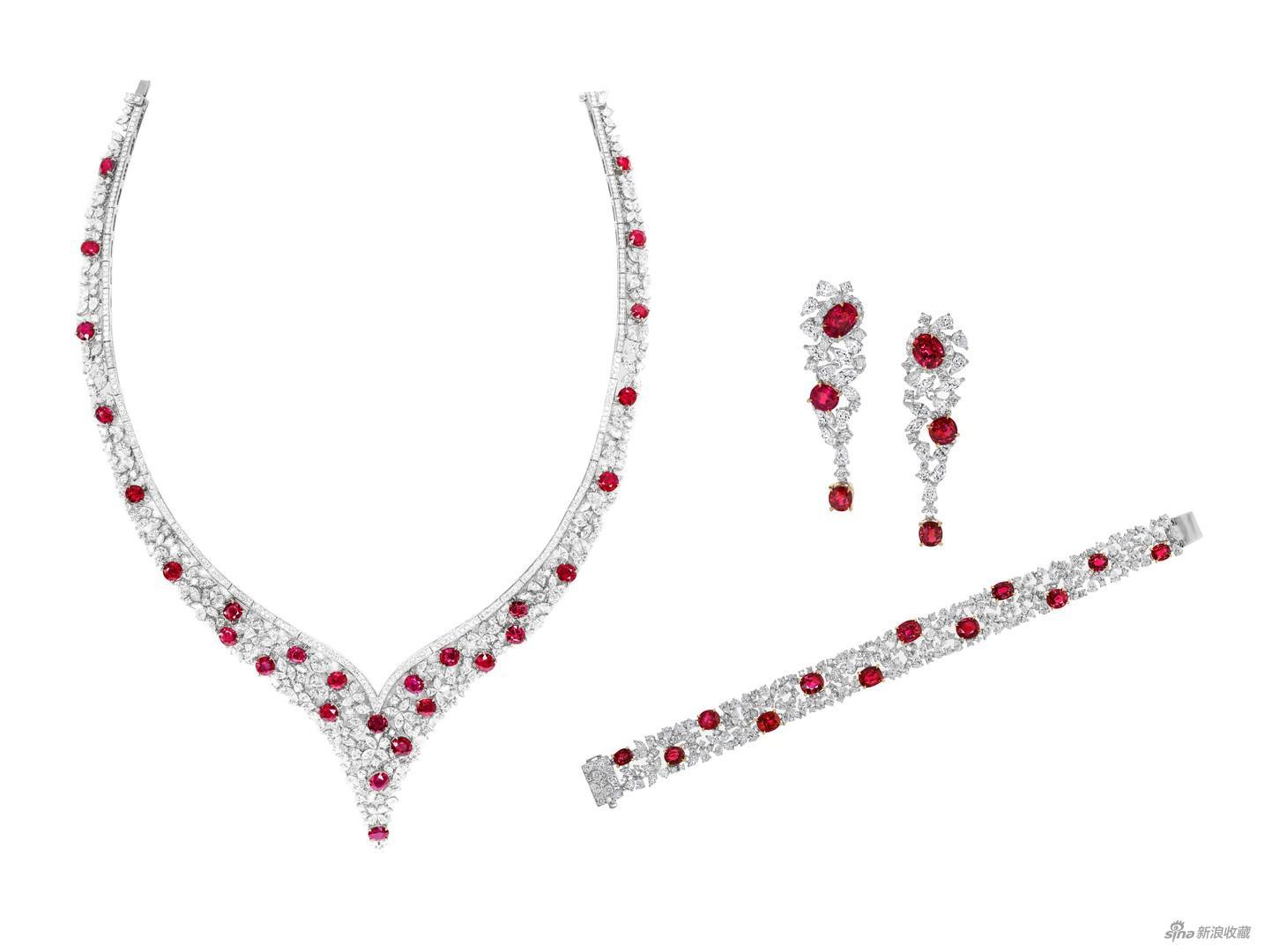 《天然缅甸无烧红宝石套组》,红宝石,天然钻石,18K金,来自珺豪珠宝