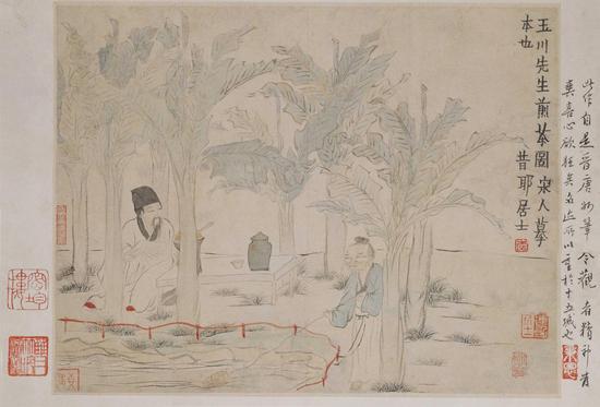 金农 人物山水图册 第七开·玉川先生煎茶图