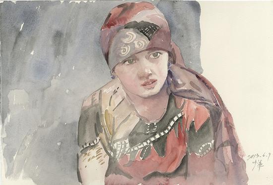 《卖馕的维吾尔族女孩》2013年55.5x37.7cm,水彩171-168