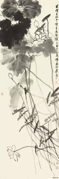 《清香为谁发》 180cm×60cm 朱 群 江苏省中国画学会理事