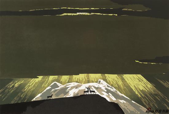 晁楣《极地》54cmx80cm 油印套色木刻 1995