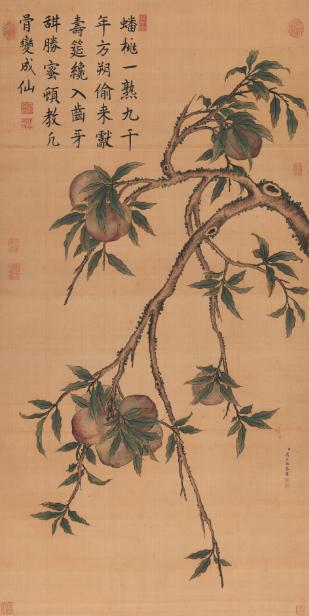蒋廷锡(1669-1732)  蟠桃图  立轴 设色绢本  133×66.6 cm