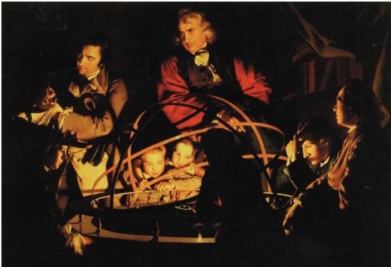 德比的约瑟夫·赖特 哲学家关于太阳系仪的演讲(仪器中电灯代表太阳)