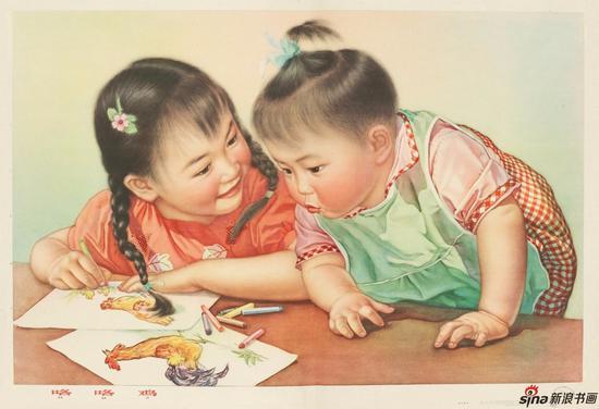 张大昕根据两个女儿的照片创作年画《咯咯鸡》1963
