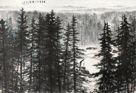 白雪石 万墨丛中一点红 131×191.5 cm