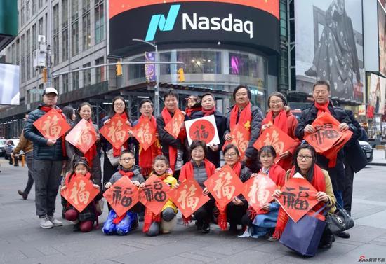 2019己亥猪年大年初一张广才在纽约时代广场向全球人民拜年