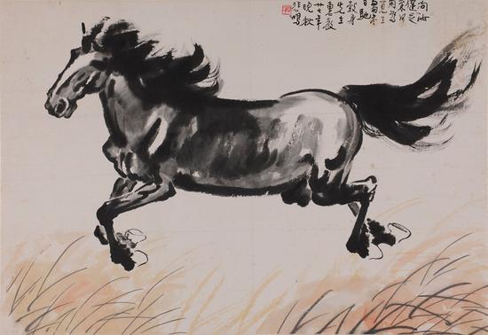 2 徐悲鸿 《奔马》 纸本水墨设色 51×74cm 1938年