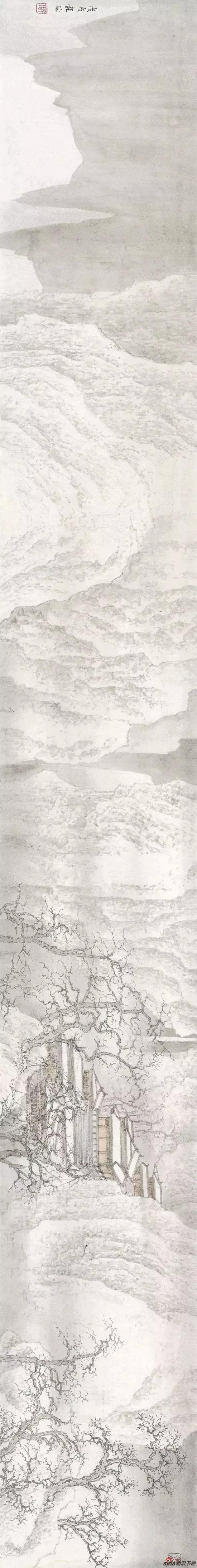 《寒林楼阁》 纸本设色 25×200cm 2018年