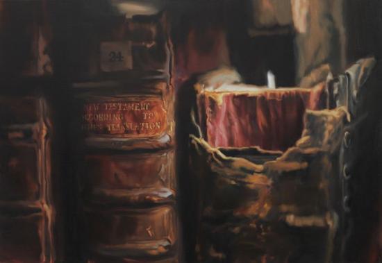 牛津大学王后学院图书馆 (K 24。 新约)。 2016。 Oil on Linen。 亚麻布油彩 (92 x 132 cm)