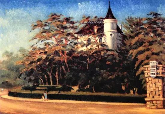 许幸之 《秋阳》1957年 纸板油画 28。×40.5cm