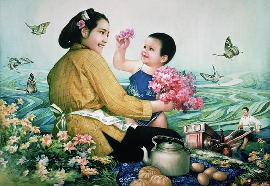 刘熹奇作品《在希望的田野上》56cmx86cm 1984年