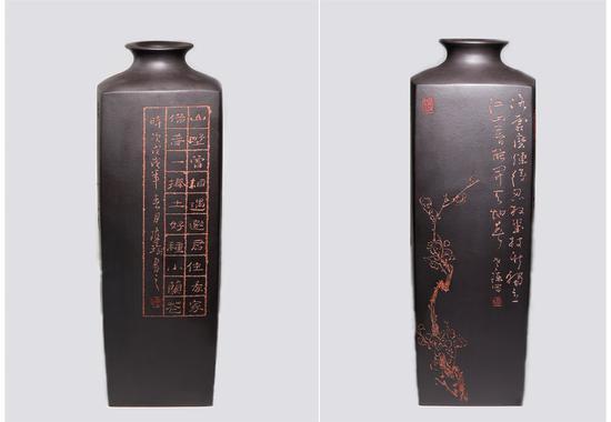 艺术家陈瑜作品 高四方瓶 泥料:黑泥粉浆 年代:2018 尺寸:50x16CM
