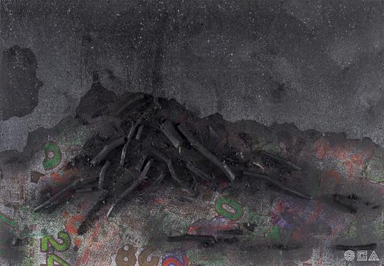 《生命系列 No.2》 综合材料 木炭、宣纸、日历 80×120cm 2017