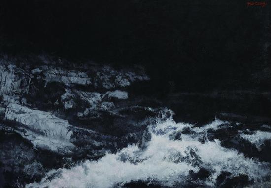 岩与溪-布面油画-70cmX100cm-2015