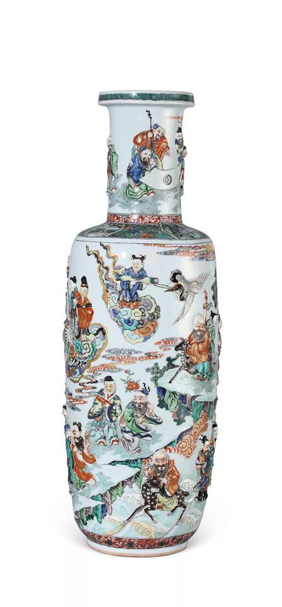 清康熙 五彩加金凸雕群仙庆寿图大棒槌瓶   H 76.5 cm