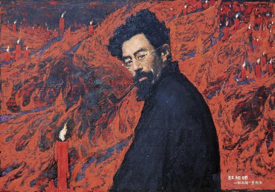 17。闻立鹏《红烛颂》布面油画 70cm×100cm 1979年 中国美术馆藏