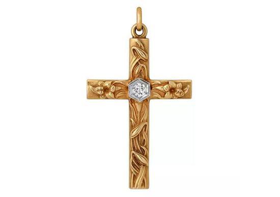 典型新艺术风格十字架项坠