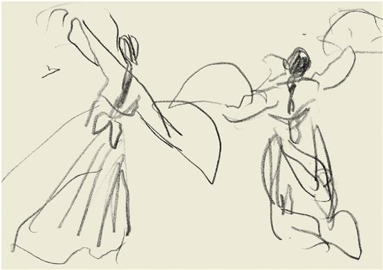 叶浅予 朝鲜双人扇舞 12.5×17.5cm 纸本铅笔
