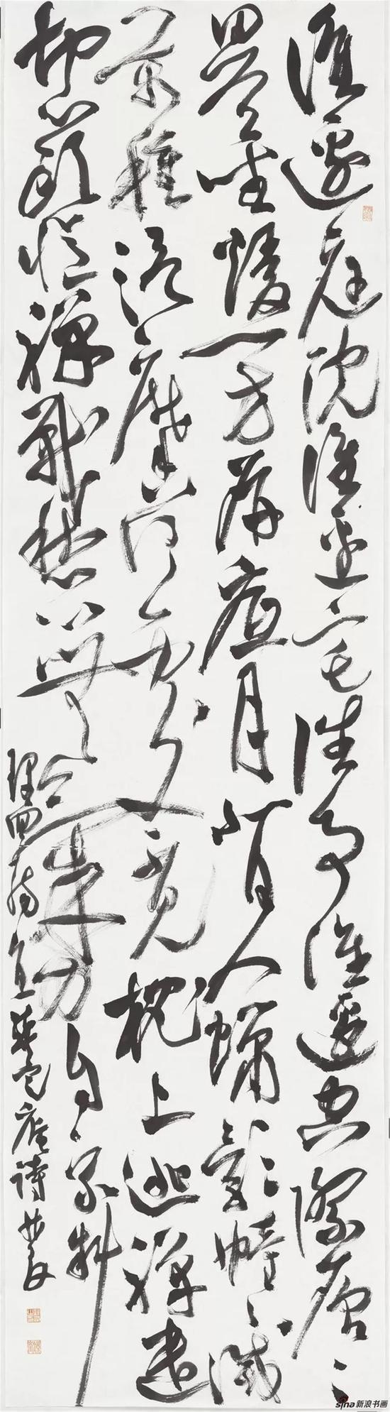 龚定庵词一首,草书,纸本,180×49cm,2018年