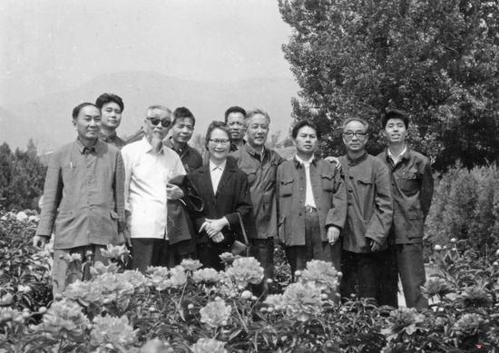 1977年为毛主席纪念堂作画的八位江苏画家等合影。左起:宋文治、尚君砺、钱松嵒、金志远、华君武夫人宋琦、伍霖生、华君武、亚明、魏紫熙、秦剑铭