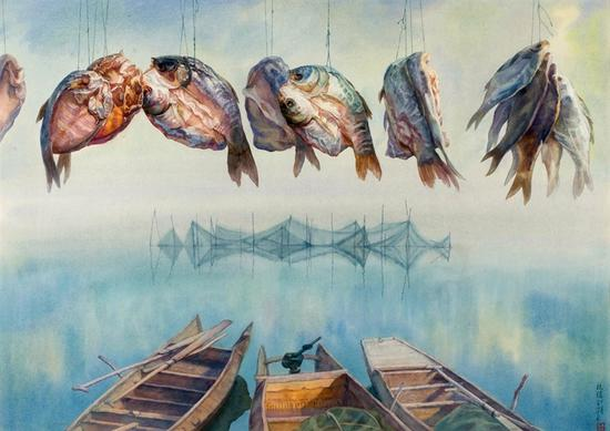 35。白统绪《腊月》水彩 65.5cm×92cm 1994年 湖北美术馆藏