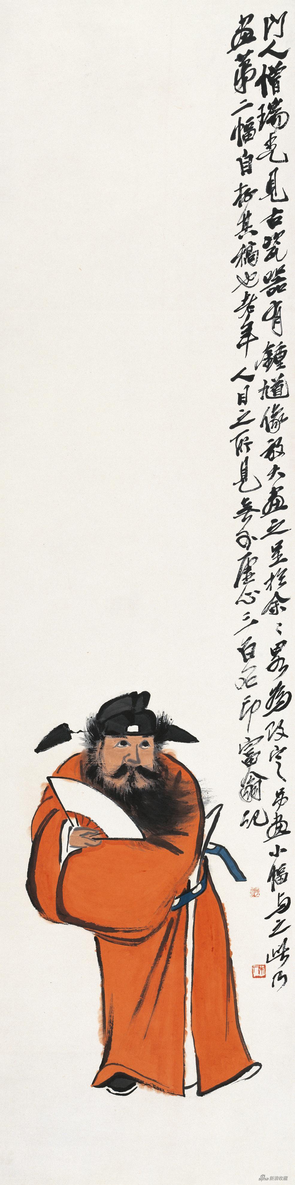 钟馗图 齐白石 133.5×33.5cm 无年款 纸本设色 北京画院藏