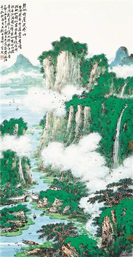 黄廷海碧水丹崖武夷山 136x69cm