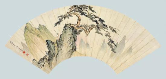 Lot 126   陈少梅(1909-1954) 松岭策杖   扇面镜心 设色纸本   题识:馥斋先生正之,少梅陈彰。   钤印:陈、少梅   尺寸:17×51 cm。 约0.78平尺