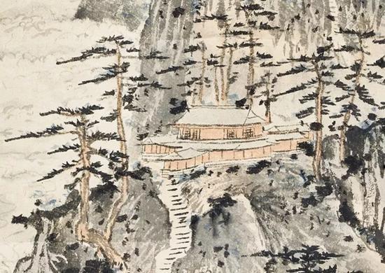 拍品中位于半山腰的接引殿局部