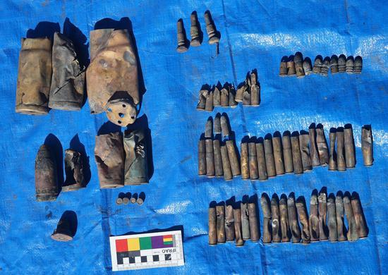 出水的毛瑟步枪子弹、左轮手枪子弹、37毫米炮弹、47毫米炮弹等(国家文物局水下文化遗产保护中心供图)
