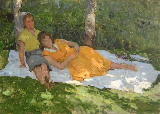 格里查依《树荫下的女人》油彩纸板 49.5x70cm 1959