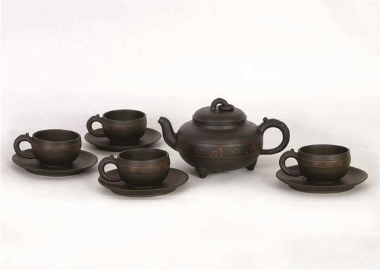 九件嵌泥玉钵茶具 艺术家强德俊作品