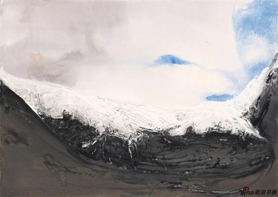 《雪域高原之三》纸本色粉53cmx75cm2018年