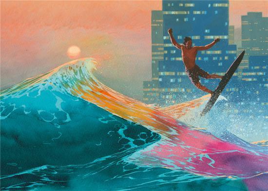 埃萨德·里比克 Esad Ribic - 《日落时火奴鲁鲁的冲浪者》