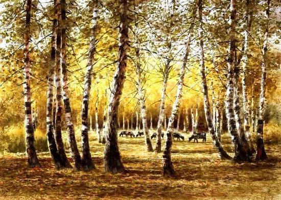 金海波 白桦林中 尺寸:60×80cm 镜框 成交价:3300元