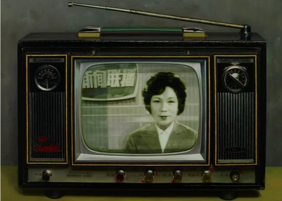 中国记忆-新闻联播首播 布面油画 130x180cm 2008年