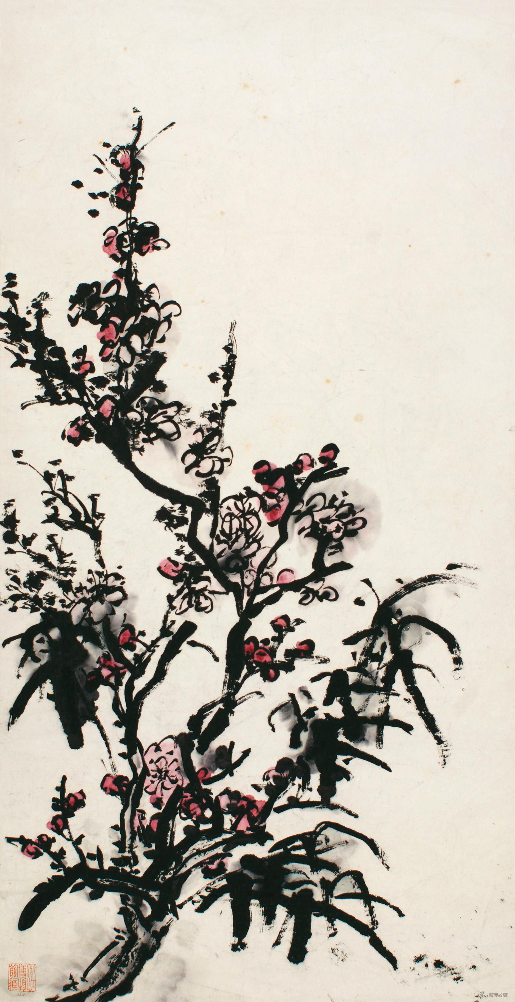 梅竹 黄宾虹 69cm×35.8cm 无年款 纸本设色 浙江省博物馆藏