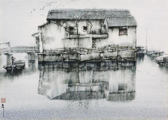 36。刘寿祥《老房子》纸上水彩 53cm×74cm 1990年代 湖北美术馆藏