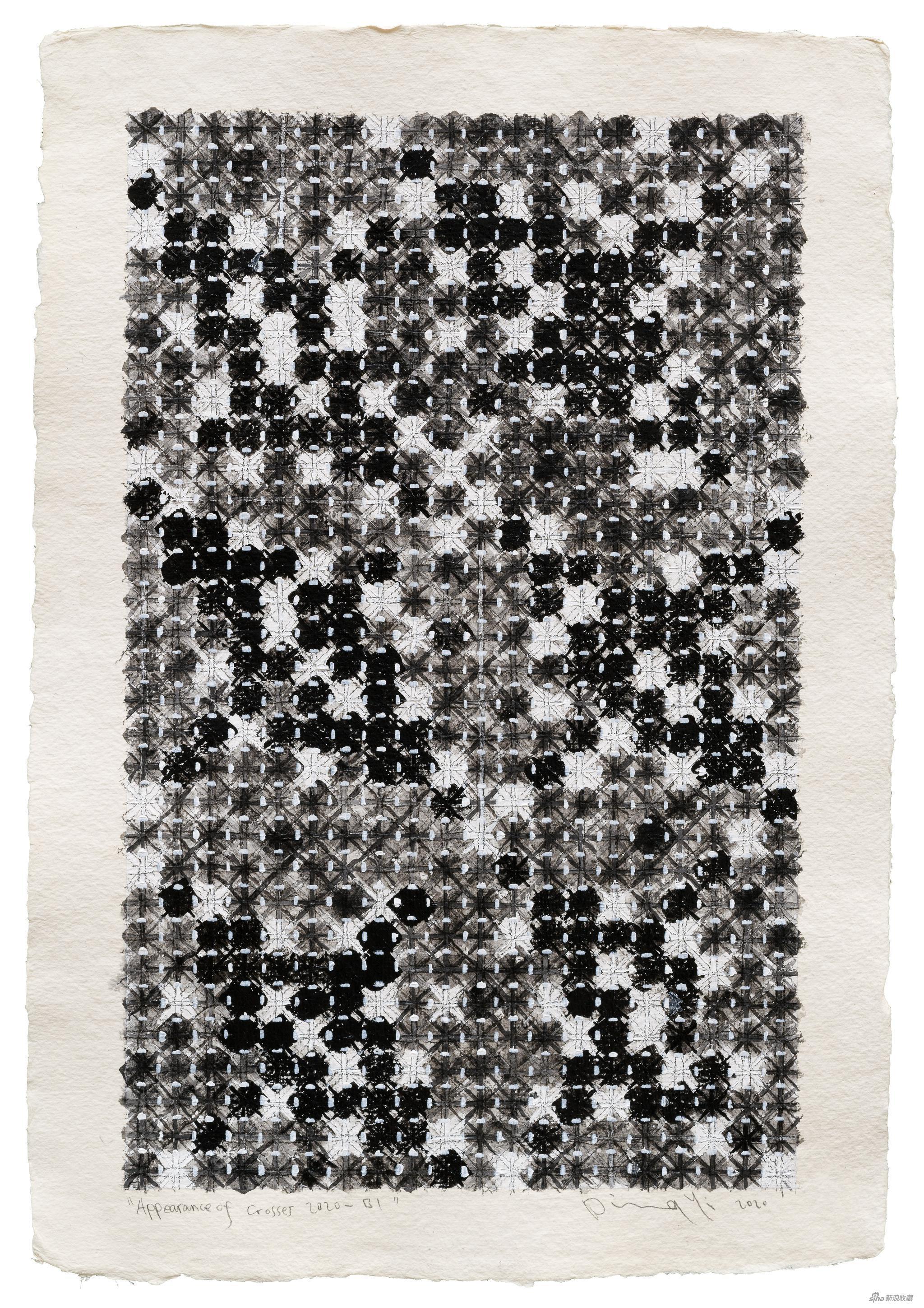 丁乙,十示 2020-B1,手工纸上丙烯、水溶性彩铅、铅笔,2020,56x38cm