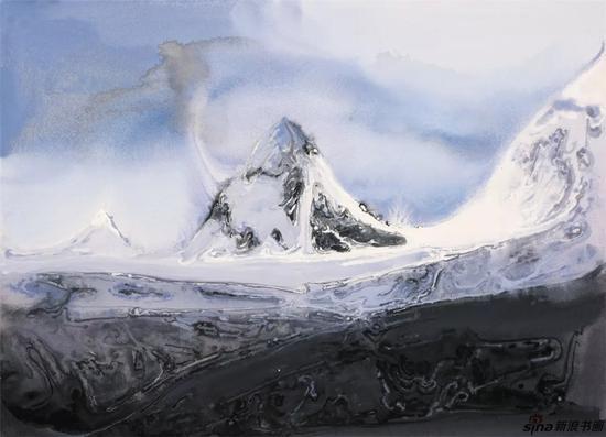 《雪域高原之一》纸本色粉53cmx75cm2018年